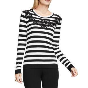 Vince Camuto B&W Stripe Sweater w Lace detail